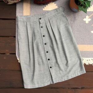 Vintage 90s High Waist Button Up Houndstooth Skirt